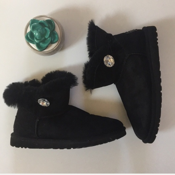 00e9785859c { UGG } mini bailey button bling boot in black